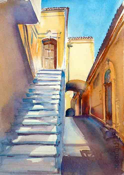 Sant'Agata Stairs, Puglia, watercolor, 15 x 11. Available.